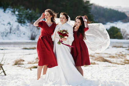 glory of the snow: Pretty bridesmaids on red dresses with bride on sunny winter wedding day.