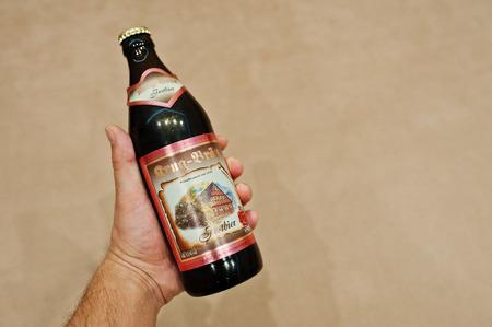 Hai, Ukraine - January 5, 2017: Brug Brun austrian beer