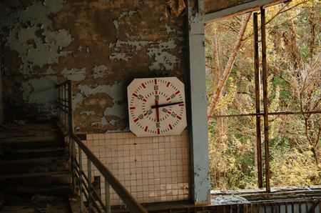 radiactividad: Lost school sport gym at Chernobyl city zone of radioactivity ghost town.
