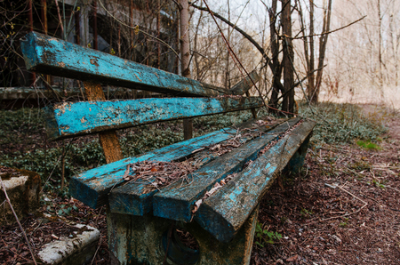 Rusty and old bench at ghost town Chernobyl, Ukraine. Stock Photo