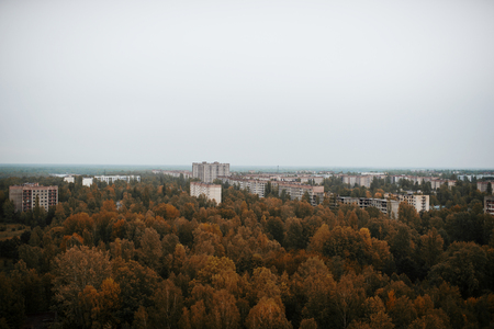 radiactividad: Aerial panorama view of Chernobyl exclusion zone with ruins of abandoned pripyat city zone radioactivity ghost town with empty building.