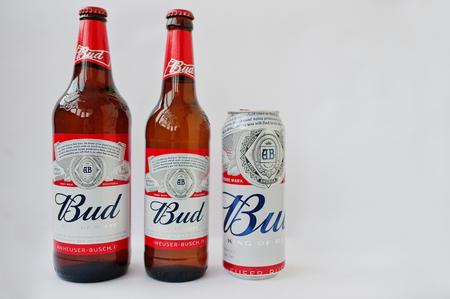 Dusseldorf, Germany - February 18, 2017: Three bottles of beer Bud against white background.