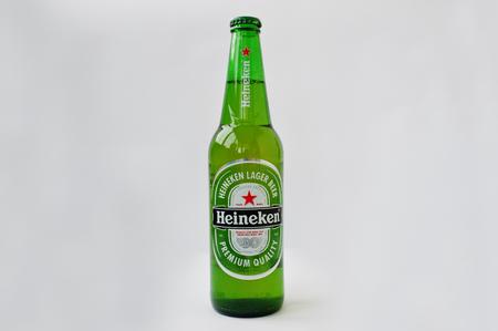 Dusseldorf, Germany - February 18, 2017: Bottle of Heineken beer on white background.