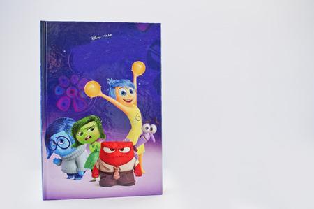 out of production: Hai, Ukraine - February 28, 2017: Animated Disney Pixar cartoon production book Inside out on white background.