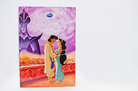 Hai, Ukraine - February 28, 2017: Animated Disney movies cartoon production book Aladdin, Return of Jafar on white background. Editorial
