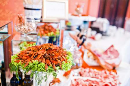 chitin: Fresh red crayfish at catering wedding reception table. Stock Photo
