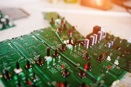 Circuit board of electronic computer hardware technology. Motherboard digital chip.