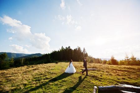 Lovely wedding couple at amazing landscapes of Carpathian mountains.