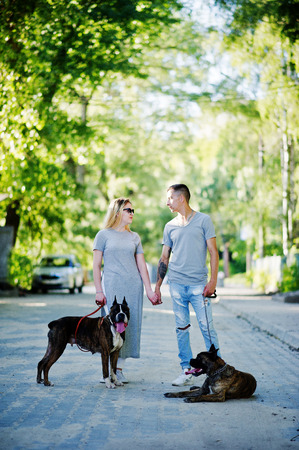 Couple in love with two dogs pit bull terrier on a walk. Stock Photo