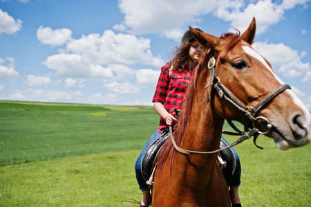 Young pretty girl riding a horse on a field