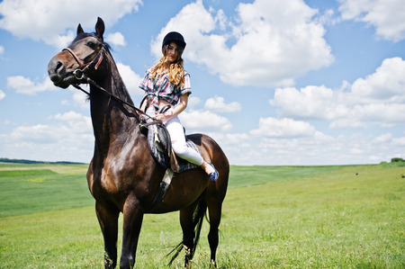 Young pretty girl riding a horse on a field at sunny day.