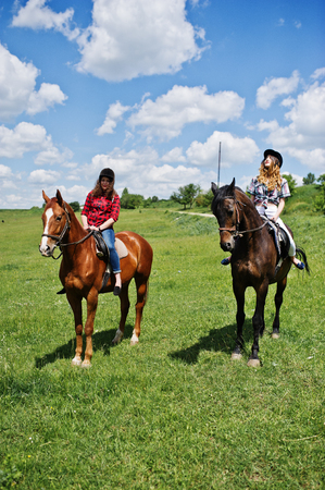 gelding: Tow young pretty girls riding a horses on a field at sunny day. Stock Photo