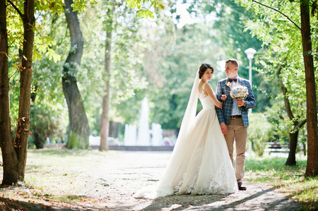 Attractive young wedding couple walking and posing in the park on a sunny day.