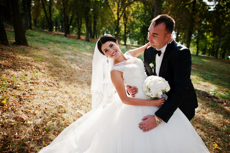Amazing young gorgeous newly married couple taking a walk in the park on their wedding day.