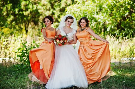 pierce: Happy bride having fun with her cool fun bridesmaids in the park on a wedding day. Stock Photo