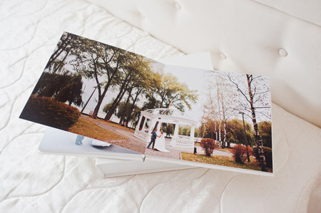 Pages of wedding photobook or wedding album on white background.