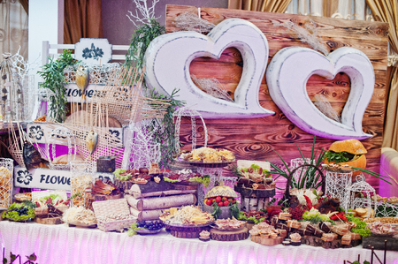 Delicious and nutritious dishes on the wedding banquet. Stock Photo