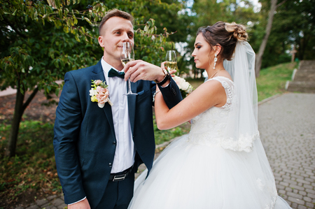 wedding feast: Happy newlyweds drinking champagne outdoor in the park on a wedding day.