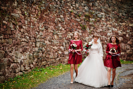 Magnificent bride walking and posing with her bridesmaids with bouquets in the park next to the old brick wall. Stock Photo