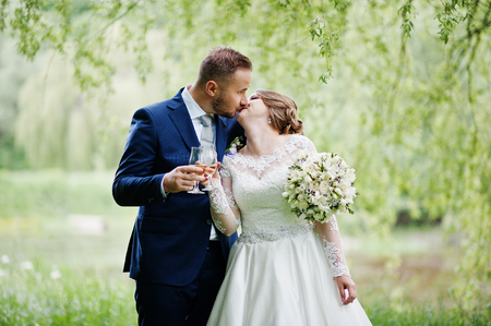 Lovely wedding couple kissing and holding glasses of champagne in the park or in the forest. Stock Photo