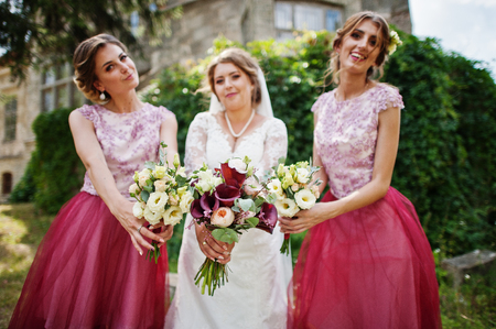 Happy bride and outgoing bridesmaids having fun on the wedding day next to a castle. Stock Photo