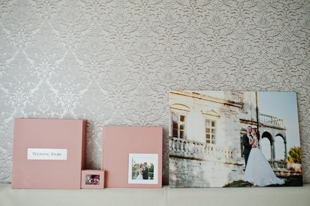 Gentle pink wedding photobook or photo album, box, and cd case. Stock Photo