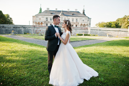 Fabulous wedding couple posing in front of an old medieval castle in the countryside on a sunny day. Stock Photo