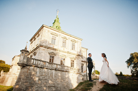 Fabulous wedding couple posing in front of an old medieval castle in the countryside on a sunny day. Archivio Fotografico