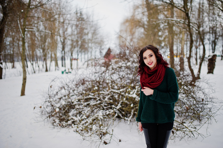 Brunette girl in green sweater and red scarf outdoor on evening winter day. Stock Photo