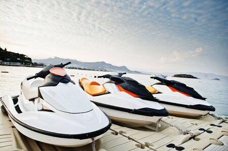Three jet ski on a calm blue sea of Bodrum, Turkey.