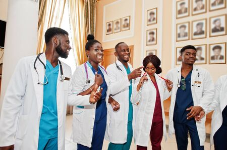 Group of african medical students in college.