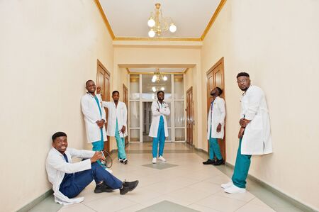 Group of african male medical students in college. Stock Photo