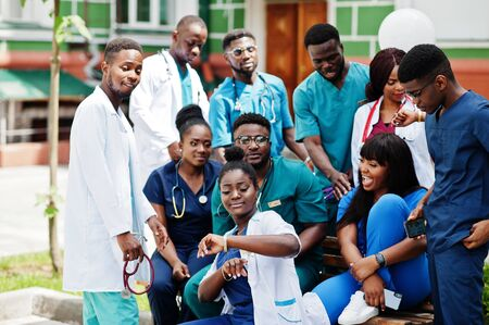 Group of african medical students posed outdoor. Stock Photo