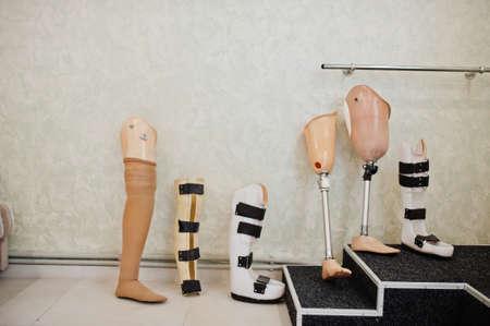 Six prosthetic leg at prosthetist clinic.
