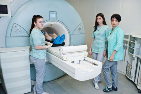 Magnetic resonance imaging scan or MRI machine device in hospital.