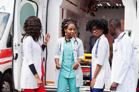 Group of african paramedic ambulance emergency crew doctors. Stok Fotoğraf