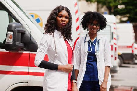 Two african paramedic ambulance emergency crew doctors. Stok Fotoğraf
