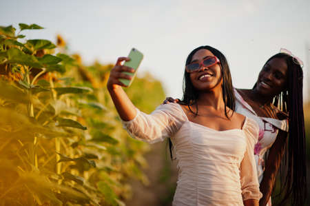 Two pretty young black friends woman wear summer dress pose in a sunflower field making selfie on phone.