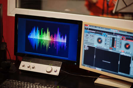 Monitors with microphone in record music studio.