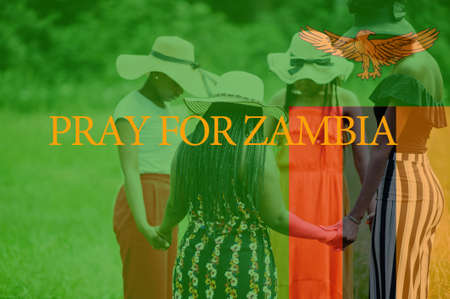 Pray for Nigeria. Group of four african women holding hands and praying. Concept of crisis in Africa country.