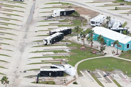 テキサス州ロックポート-8 月28日、2017: ハリケーン・ハーベイによる損傷の空中図