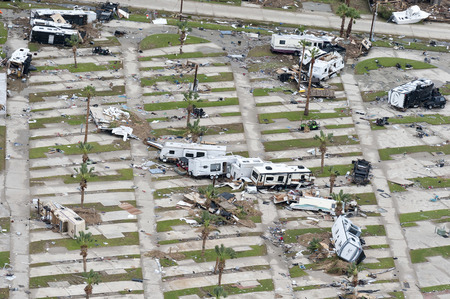 Rockport, Texas - August 28, 2017: An aerial view of damage caused by Hurricane Harvey Sajtókép