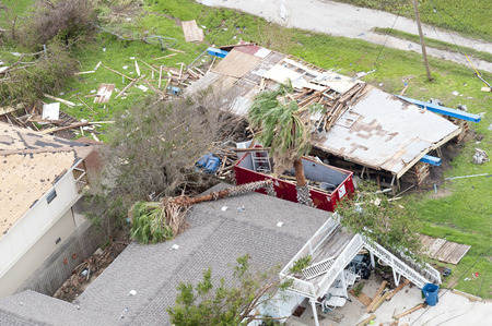 Rockport, Texas - August 28, 2017: An aerial view of damage caused by Hurricane Harvey Redactioneel