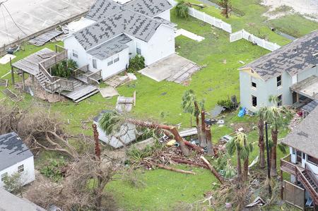 ロックポート、テキサス州 - 2017 年 8 月 28 日: ハリケーン ハーヴェイによる被害の空中写真