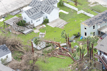 Rockport, Texas - August 28, 2017: An aerial view of damage caused by Hurricane Harvey Редакционное