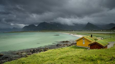 Sandbotnen bay near Fredvang, Lofoten island, Norway. Norwegian summer holidays. Stock Photo