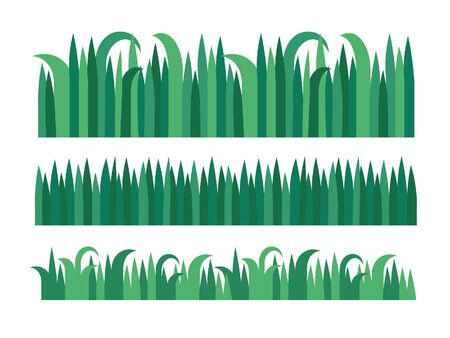 Green grass icon set