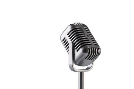 Retro microphone isolated on white background Standard-Bild - 136746932