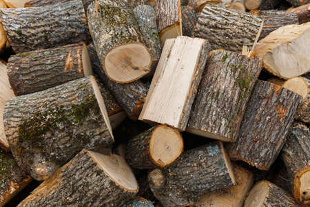 chopped: Pile of chopped fire wood Stock Photo