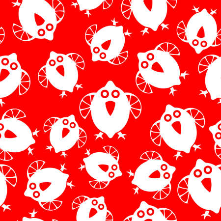 Seamless pattern with Bird and lemon symbols. Can be used for invitations, greeting cards, print, gift wrap Vettoriali